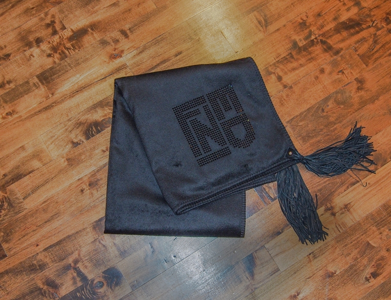 Fendi Casa  100% Cashmere wool with black Swarovski crystal application and leather tassels.