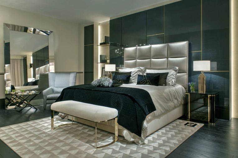FF Diamante King bed_Mercury bedside tables_Asja bench